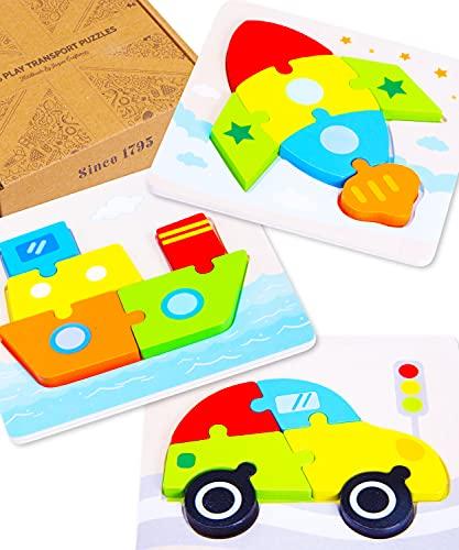 Jaques de Londres Permite Jugar al Rompecabezas de vehículos - Puzzles de Madera Ideales para 2 3 4 años y Rompecabezas para niños - Juguetes de Madera de Calidad Desde 1795