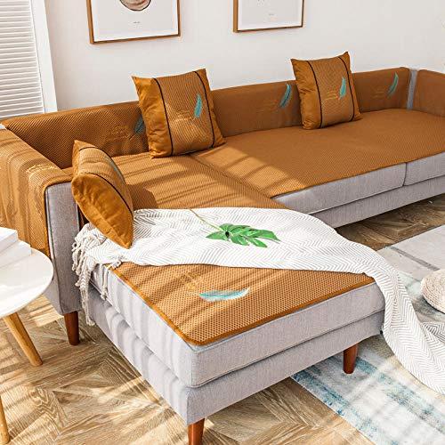 YUTJK Broderad sommarmatta soffskydd, stol Loveseat soffa soffa soffa överdrag bil soffa säng säte möbelöverdrag tyg, brun 1_60 × 180 cm