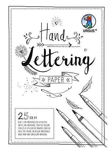 URSUS 24924601 Handlettering Paper, Block mit 25 Blatt Tonkarton 200 g/qm DIN A4, zum individuellen Gestalten, weiß
