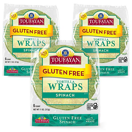 Toufayan Bakery, Spinach Gluten Free Wraps for Sandwiches, Tortillas, Burritos and Snacks, Gluten Free, Naturally Vegan and Kosher (Spinach, 3 Pack)