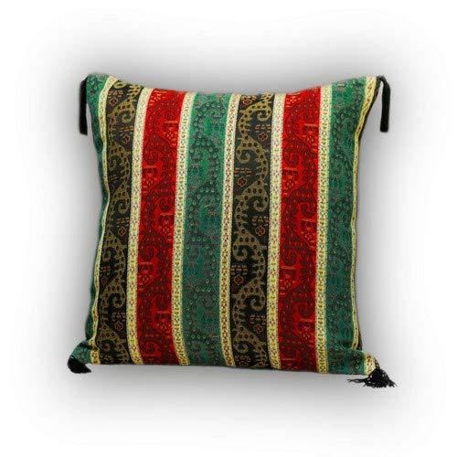 Nieuw zwart, rood, groen, geel, kussensloop, kussensloop, oosterse decoratieve kussen, Oosterse stoffen, damast S 2-2-4015