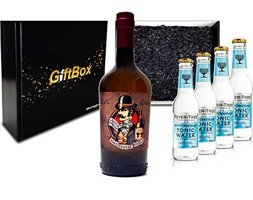 Gin Tonic Giftbox Geschenkset - Gin del Professore Monsieur 0,7l 700ml (43,7% Vol) + 4x Fever Tree Mediterranean Tonic Water 200ml inkl. Pfand MEHRWEG - [Enthält Sulfite]