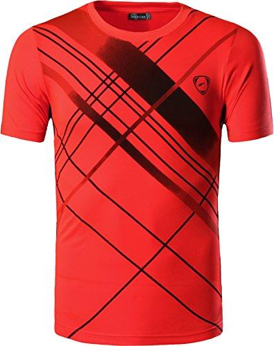 jeansian Herren Sport Tee Shirt Tshirt T-Shirt Kurzarm Tops Tennis Golf Bowling Trockener Sitz LSL133 Orange XL