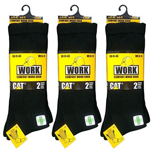 Caterpillar 6 Pares CAT Calcetines de trabajo para hombres, recomendados para diabéticos,...