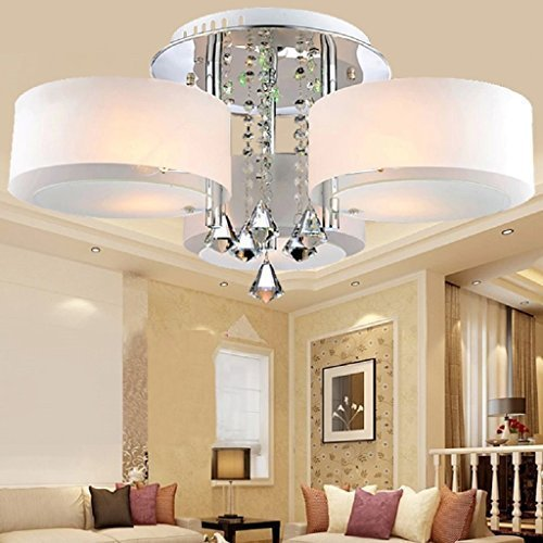 ALFRED Chrome Finish Crystal Chandelier with 3 lights Dining Room Living Room Bedroom Flush Mount,Ceiling Light Fixture Mini Style for Study Room//Office
