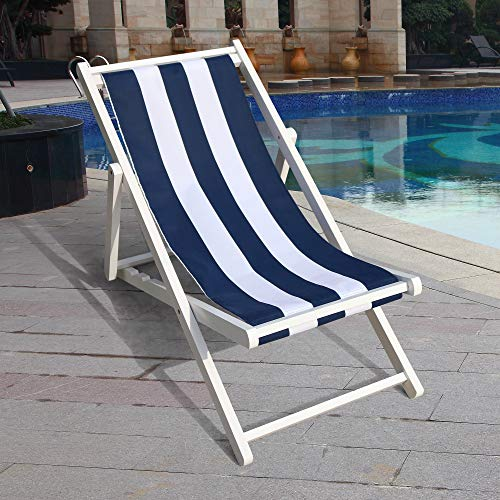 Wood Sling Chair, Outdoor Folding Adjustable Beach Patio Chair with Canvas, Ergonomic Wooden Deck Chair Back Rest Chair for Living Room Balcony Courtyard Garden (Broad Blue)