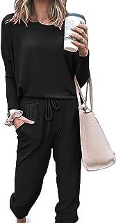 طقم ملابس رياضية بأكمام طويلة للنساء من قطعتين رياضية بقلنسوة من انليفين