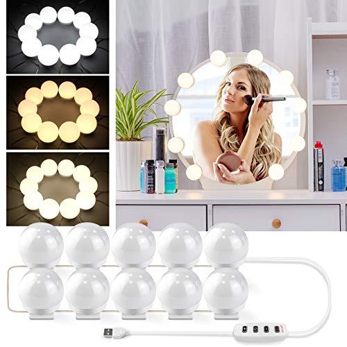 Luces LED Para Espejo de Tocador Operadas por USB, Bombillas Regulables, Luces de Belleza,luces de Espejo Estilo Hollywood, kit de Bricolaje con 3 Modos de Color y 10 Brillos Para Maquillaje y Tocador