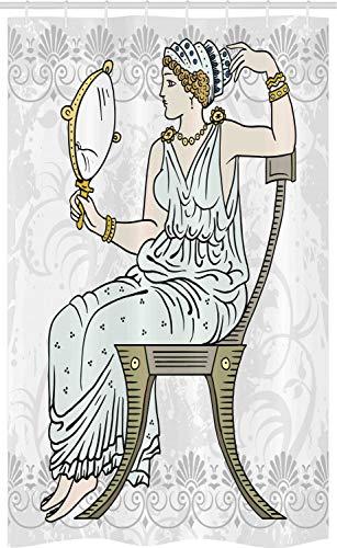 ABAKUHAUS Venus Douchegordijn, Griekse vrouw in de Toga Spiegel, voor Douchecabine Stoffen Badkamer Decoratie Set met Ophangringen, 120 x 180 cm, Veelkleurig