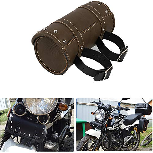 PU Synthetic Leather Motorcycle Tool Roll Bag Rear Retro Round Pouch Handlebar Bag for Custom Bike for Cruiser for Cafe Racer (Antique)