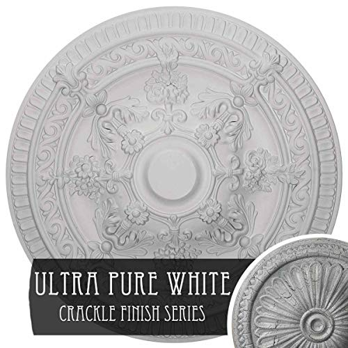 Ekena Millwork Vincent Ceiling Medallion 26' OD x 3' P (Fits Canopies up to 6'), Hand-Painted Ultra Pure White Crackle