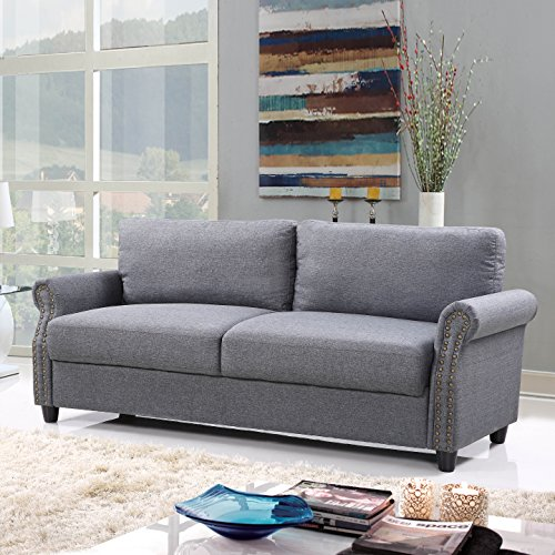 Divano Roma Furniture EXP89-FB-3S-LGR Furniture Classic Sofas, Light Grey