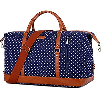 BAOSHA HB-14 Canvas Travel Tote Duffel Bag Carry on Weekender Overnight Bag Oversized for Women and Ladies  Blue Dot