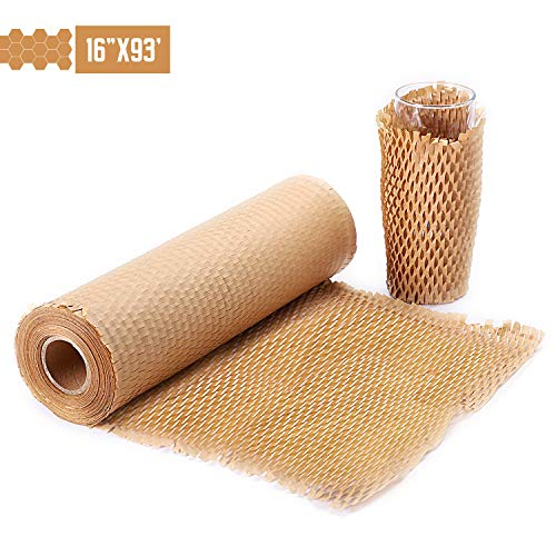 "METRONIC Packaging Paper 16""x93' Honeycomb Cushioning Wrap Perforated-Packing,1 Rolls 93 Ft Honeycomb Wrap Roll with 20 Fragile Sticker Labels Packing Honeycomb Wrap Roll for Packing & Moving"