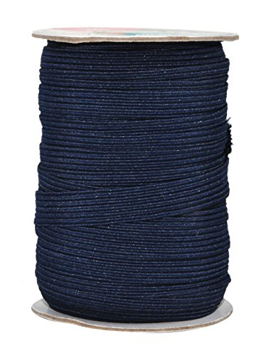 Mandala Crafts Flat Elastic Band, Braided Stretch Strap Cord Roll for Sewing and Crafting; 1/2 inch 12mm 20 Yards Navy Blue
