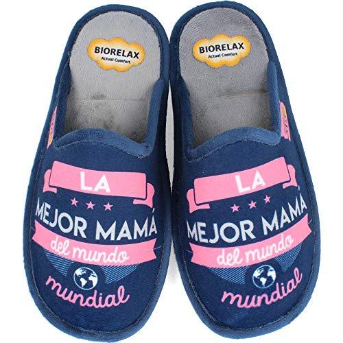 BioRelax - Zapatillas Mujer La mejor mamá del mundo - Azul, 37