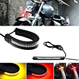 GTinthebox 2PC Flexible Switchback Dual-Color Red & Amber LED Fork Turn Signal...