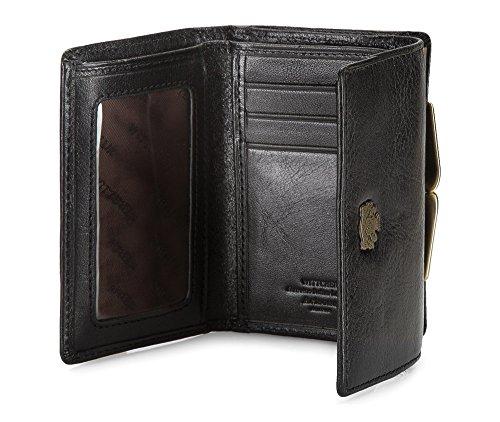 WITTCHEN Geldbörse aus Rindsleder | Kollektion: Arizona | aus hochwertigen Materialien | elegant und klassisch | Schwarz | 11x8 cm