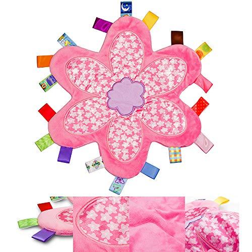 Manta para bebé Comfort seguridad con colorido Etiquetas felpa suave Taggy manta del bebé Etiquetas Juguete para niña-flor rosada