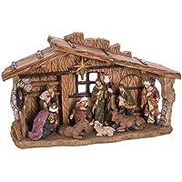 Belén de Navidad con Portal y 10 Figuras marrón de Resina de 38x22 cm - LOLAhome