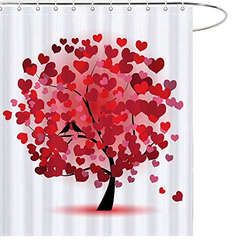 MAEZAP Red Birds with Love Heart Tree Shower Curtain Valentine's Day Bathroom Decor Waterproof Polyester with Hooks 69x70Inchs