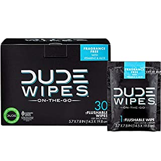 DUDE Wipes Flushable Wet Wipes, Individually Wrapped for Travel, Unscented Wet Wipes with Vitamin-E & Aloe, Septic and Sewer Safe, 30 Count (B008LXBZF2) | Amazon price tracker / tracking, Amazon price history charts, Amazon price watches, Amazon price drop alerts