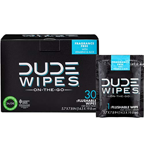 Dude Wipes - Flushable Wipes, with Aloe Vera, Singles for Travel (30 Each) by Dude Products