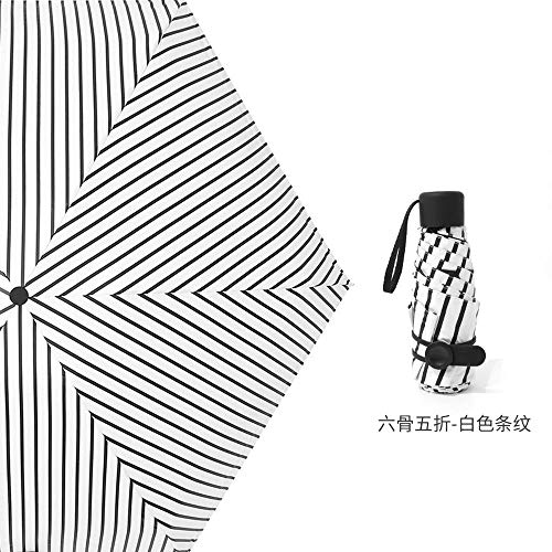 MVBGLK opvouwbare paraplu zak paraplu geschenk zon paraplu vrouwelijke opvouwbare paraplu zonnescherm Five fold vertical stripes