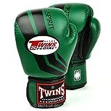 Twins special Guantes de boxeo de rayas verde oscuro y negro FBGV-43