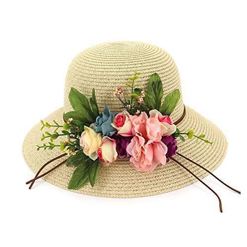 YEXIANG Fashion 2019 Basin Cap Sombrero de Pescador Señora Playa Grande a...