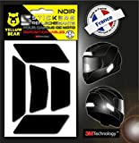 Yellow Bear Easy Five , Kit 5 Stickers Retro réfléchissants REPOSITIONNABLES, pour Casque Moto, 3M Technology, Noir