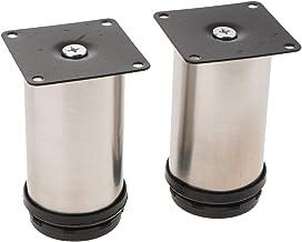 MERIGLARE 2pcs Redondos de aço Inoxidável Ajustável Rodapé Pernas Pés Elevadores de Suporte de Móveis - 10cm