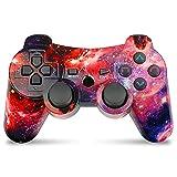 Controller wireless per PS3, gamepad Double Shock ad alte prestazioni per Playstation 3 con cavo di ricarica (Universe)