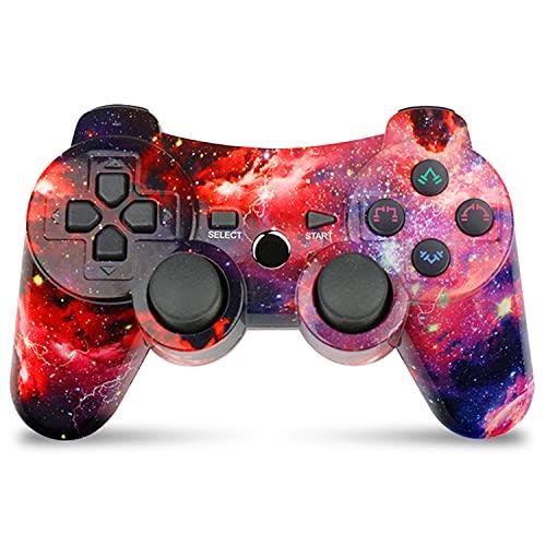 Mando Inalámbrico para PS3 Bluetooth Gamepad Controlador Doble vibración Six-Axis Mando Joystick para Playstation 3(Galaxia)