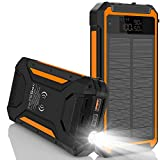 Solar Charger 30000mAh,Qi Wireless Solar Power Bank with 10W Wireless Output, High-Efficiency Solar Panel, LCD Display, Flashlight, 3 Outputs, USB C PD 18W External Battery Pack for Camping -Orange