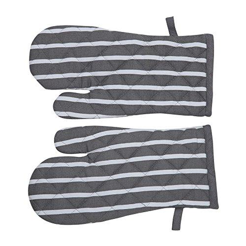 Penguin Home 100% Premium Baumwolle Hitzebeständige Küchenhandschuhe, Kochhandschuhe, Backen - Stilvolles Design & Farbe - 1 Paar - Maschinen waschbar - Streifen Grau