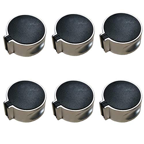 LWZko 6 Pieces Gas Stove Knob, Range Oven Knobs, Cooker Metal Button, Cooktop Burner Knob, Metal Gas Hob Switch, 8 mm Universal Fashion 45° Switch Black Gas Stove Control Knobs for Home Kitchen