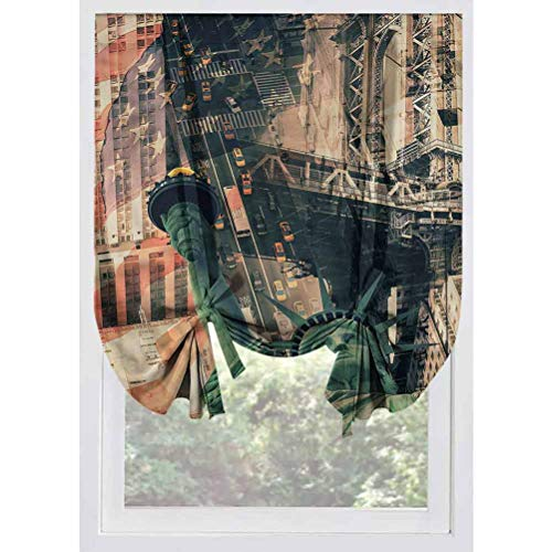 LCGGDB American Blackout Tie Up Shades Panels,Liberty Statue City Thermal Insulated Blackout Curtain Tie Up Shade for Small Window,Window Valance Balloon Blind, Rod Pocket Panel,32'x55'