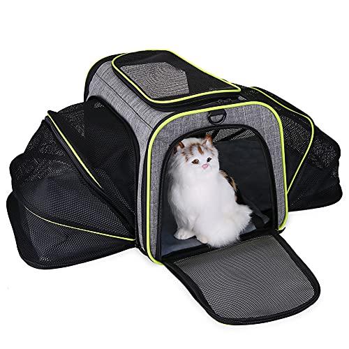 LKJYBG Caisse de transport pour chien et chat - Approuvée par les compagnies aériennes - Panier extensible en fourrure souple - Gris