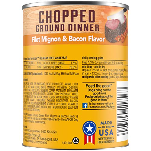 Pedigree Chopped Ground Dinner Canned Wet Dog Food Filet Mignon & Bacon Flavor, (12) 13.2 Oz. Cans