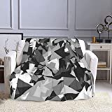 Abstract Grey Military Camouflage Pattern Flannel Throw Blanket Camping Cover for Adult Couples Anti-Static Comfortable Blankets for All Season for Couch, Ptonuic