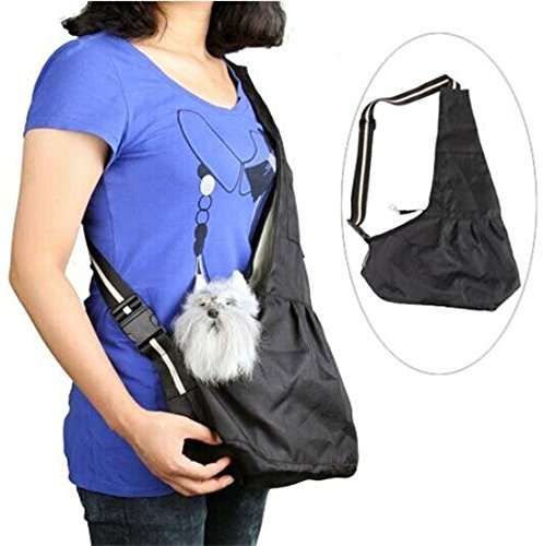 INVIKTUS Black Oxford Cloth Sling Pet Dog Cat Carrier Bag (Small)