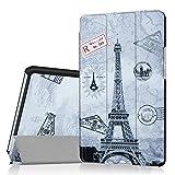 Yobby Hülle für Huawei MediaPad M3 8.4,Ultradünn Leder Tasche Folio Stand Schutzhülle [Eckenschutz] Auto Schlaf/Wach Funktion für Huawei MediaPad M3 8.4-Eiffelturm
