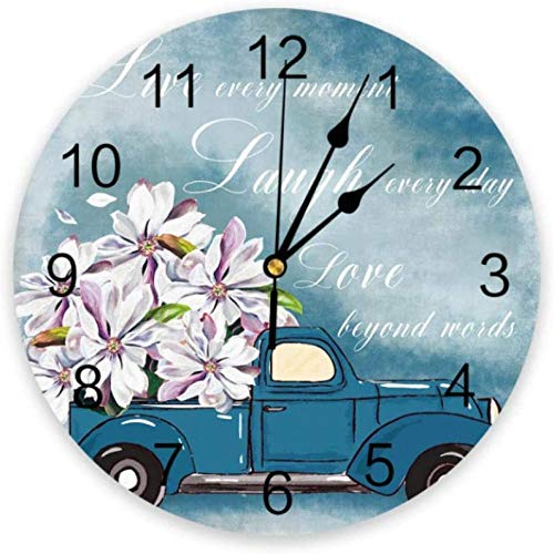 BINGTANGXUELI Co.,ltd Reloj De Pared Pintura Al Óleo Magnolia Blanca Flor Reloj De Pared Hogar Dormitorio Reloj Silencioso Reloj De Pared Reloj Digital Reloj De Pared Diseño Moderno-30X30Cm