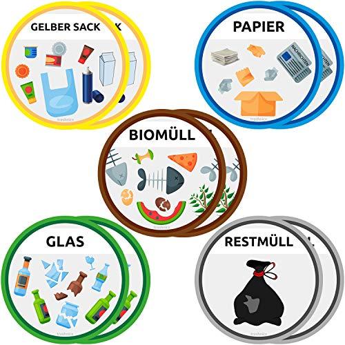 trashnice 10er Set Aufkleber Mülltrennung Aufkleber Mülltonne Abfalleimer Set Abfall Abfalleimer-Aufkleber 95 mm, Gelber Sack, Biomüll, Papier, Glas und Restmüll. Mülltonnen Abfalltrennung Müllsorten