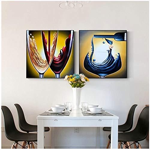 Abstracte decoratie salon wijnglas schilderij grote poster voor woonkamer eetkamer en print HD canvas muur kunst 50x50 cmX2 (geen frame)