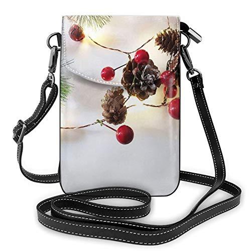 QQIAEJIA Guirlande de Noël avec sac à main pour téléphone avec lumières, sac à main en cuir PU, sac pour téléphone portable pour dames, paquet de cartes