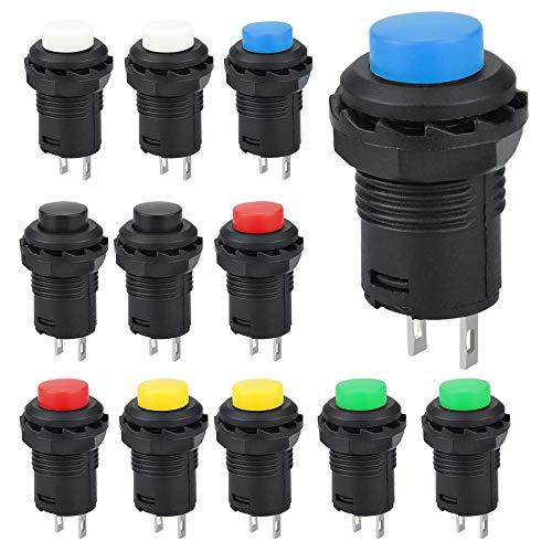 GOLRISEN 12 Stücke Druckknopfschalter 250V/1.5A 125V/3A Drucktastenschalter Mini Drucktaster Momentary Push Button 6.2mm 2 Pins Microschalter Rund Taster Schalter für Modell Auto PC Tischlampe 6 Farbe