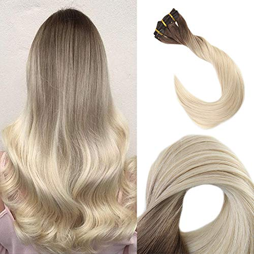 Ugeat #613 Bleach Blonde Glue in Hair Extensions Human Hair Tape in Remy Hair