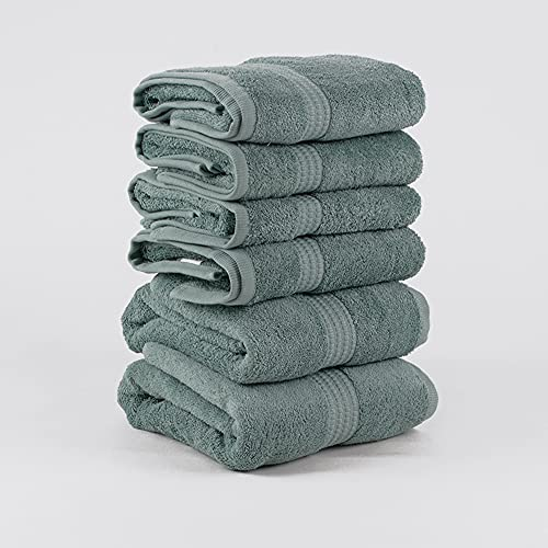PimpamTex – Juego de Toallas Premium 700 Gramos de Secado Rápido para Baño, 100% Algodón, Pack Toallas de Baño + Toallas de Mano – (Verde, 2 de 70x140 cm + 4 de 50x100 cm)
